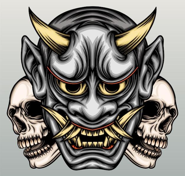 Masque de hannya avec tête de crâne dessiné à la main