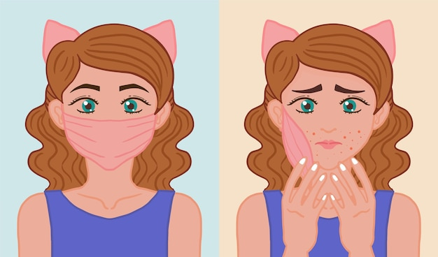 Masque sur et hors illustration