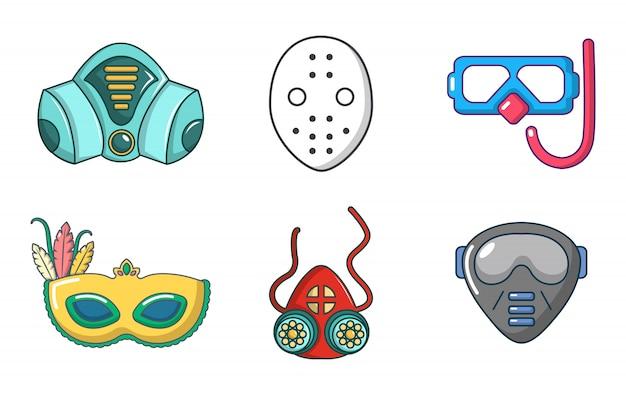 Masque icon set. ensemble de dessin animé d'icônes de masque vectorielles