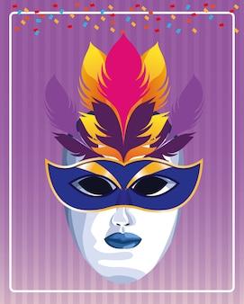 Masque avec illustration vectorielle de plumes