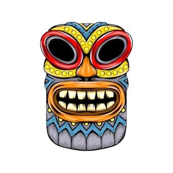 Masque d'inspiration de l'île tiki et des dents jaunes sur le visage