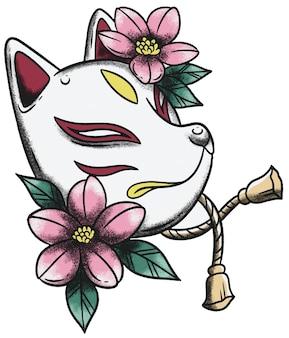 Masque japonais et fleur de cerisier néo traditionnel old school