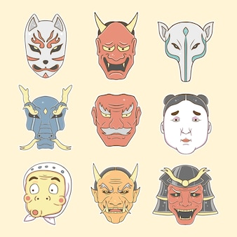 Masque japonais set collection illustration premium