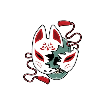 Masque kitsune japonais avec tête de mort