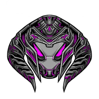 Masque magenta guerrier robot