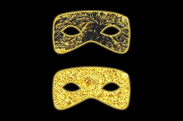 Masque magique doré avec motif floral noir