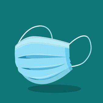 Masque médical bleu design plat