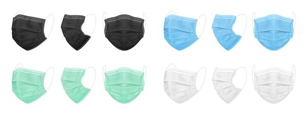 Masque médical bleu noir blanc vert