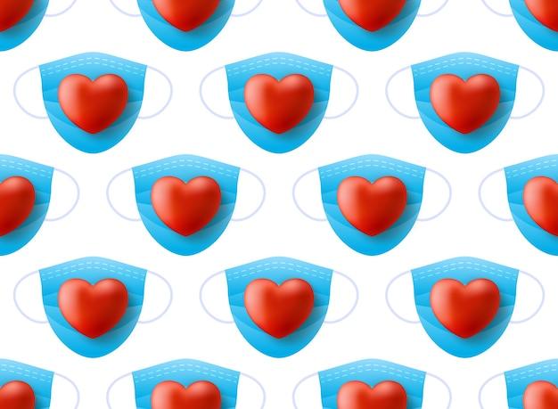 Masque médical sur coeur rouge. modèle sans couture de bonne saint-valentin