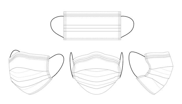 Masque médical noir et blanc dessiné à la main