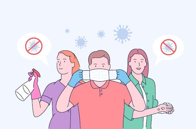 Un masque médical protège contre la propagation du coronavirus covid-19. arrêtez le concept de coronavirus covid-19. concept de famille de quarantaine de coronavirus dans un masque médical.