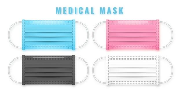 Masque médical réaliste. détails masque médical 3d.