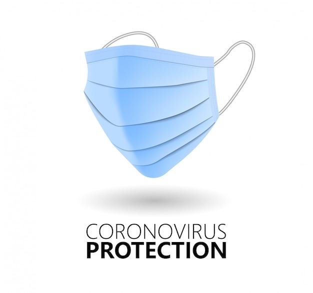 Masque médical réaliste isolé sur fond blanc. protection contre les coronavirus. illustration vectorielle