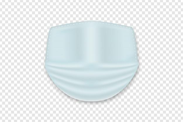 Masque médical réaliste pour la décoration et le revêtement sur le fond transparent. concept de protection contre les virus et arrêter la propagation de la maladie.