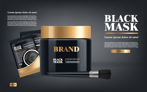 Masque noir réaliste, emballage 3d noir isolé, cosmétiques de marque, conception de masque facial au charbon, illustration de produit de beauté