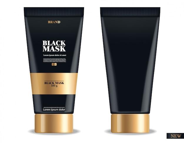 Masque noir réaliste, emballage 3d noir isolé, cosmétiques de marque, masque facial au charbon, produit de beauté