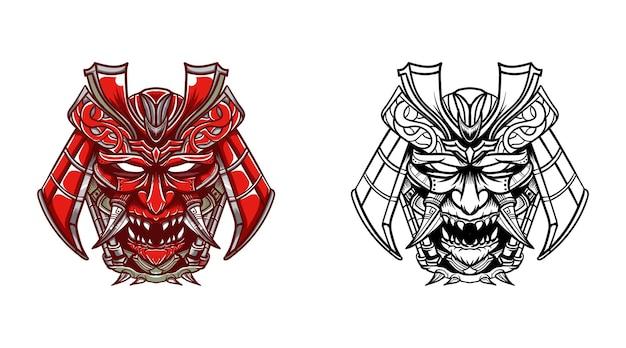 Masque oni avec un choix de couleurs et de dessins au trait