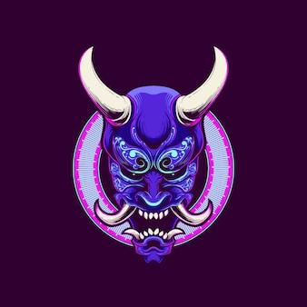 Masque oni illustration crâne avec néon coloré