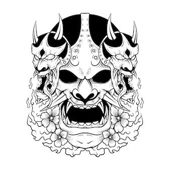 Masque d'oni de tatouage japonais hannya l'illustration et t-shirt de masque d'oni de démon japonais traditionnel