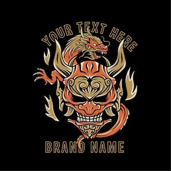 Masque oni vintage avec illustration de dragon chinois