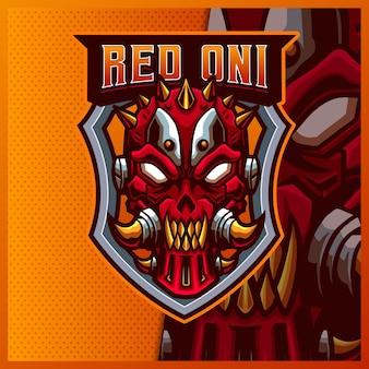 Masque Oni Visage Mascotte Esport Modèle D'illustrations De Conception De Logo, Style De Dessin Animé Maléfique Robotique Vecteur Premium