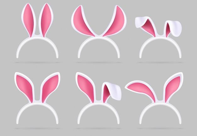 Masque oreilles de lapin. set isolé de photomaton costume de lapin de pâques