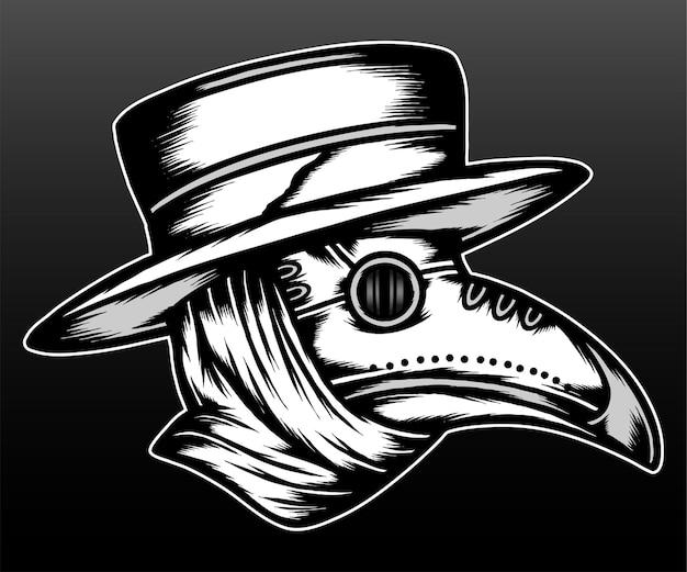 Le masque de peste médecin isolé sur fond noir