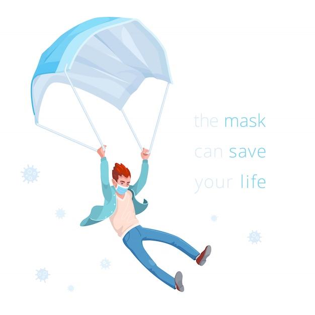Le masque peut sauver votre vie. l'homme vole lentement vers le bas, en utilisant un masque médical jetable comme un parachute.