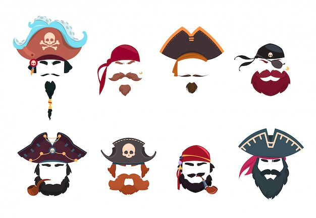 Masque de pirate. filtres photo drôle de visage. chapeaux de pirates, bandana et pipe isolé jeu de vecteur isolé