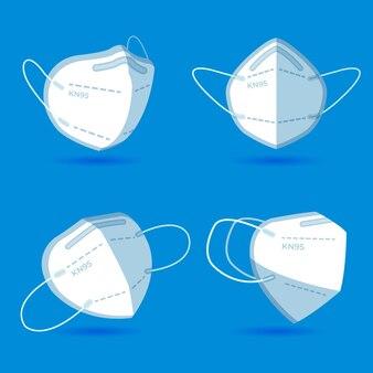 Masque plat kn95 dans différentes perspectives