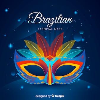 Masque de plume fond de carnaval brésilien