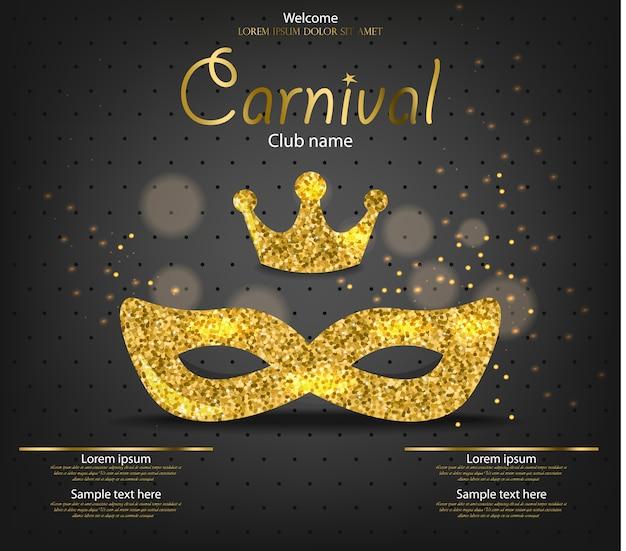 Masque princesse carnaval paillettes d'or