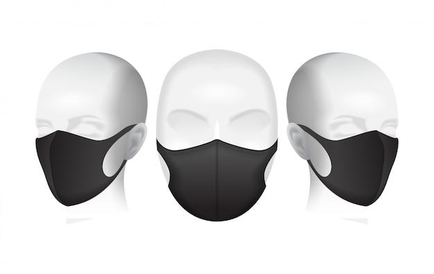 Masque de protection. masque anti-poussière noir sur la tête du mannequin. illustration de la pollution atmosphérique