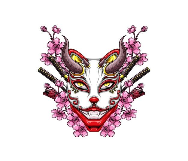Masque de renard démon japonais