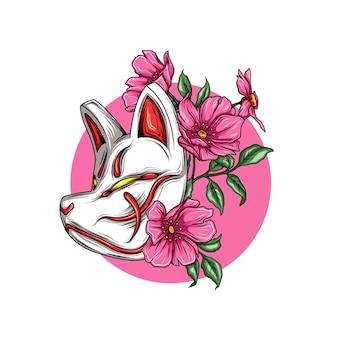 Masque de renard japonais avec des fleurs
