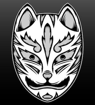 Masque de renard japonais vintage isolé sur noir