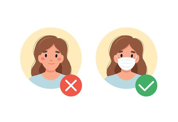 Masque requis. pas d'entrée sans masque. femme avec et sans masque médical.