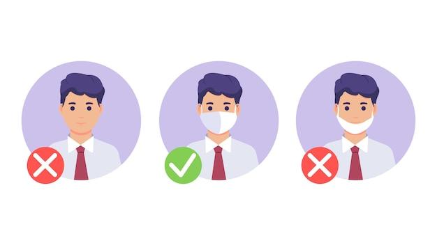 Masque requis. pas d'entrée sans masque. homme avec et sans masque médical