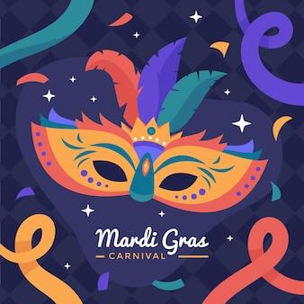 Masque et rubans de carnaval dessinés à la main