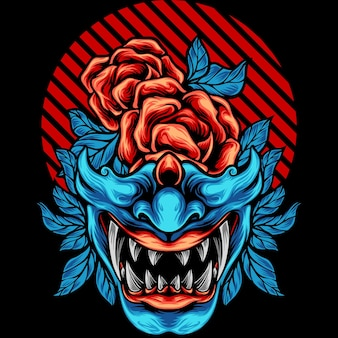 Masque samouraï japon avec rose
