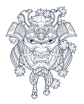 Masque de samurai japonais diabolique en couleurs