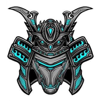 Masque samurai robot bleu