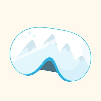 Masque de ski alpin et montagnes.