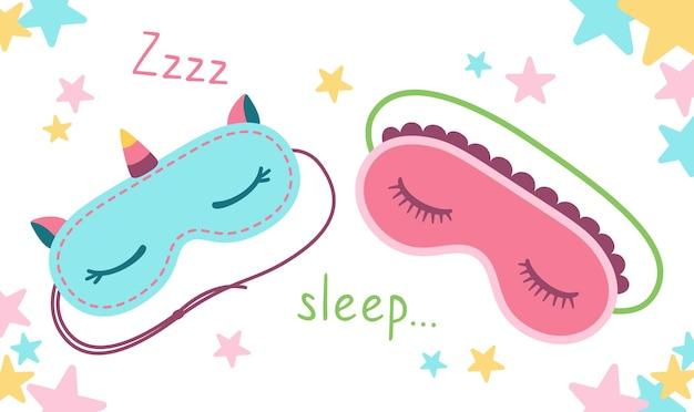 Masque de sommeil plat dessin animé carte sommeil beauté masques protection des yeux accessoire confort relaxation
