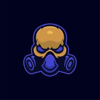 Masque tête dessin animé logo modèle illustration esport logo jeu premium vecteur