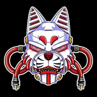 Masque tête de renard robot kitsune