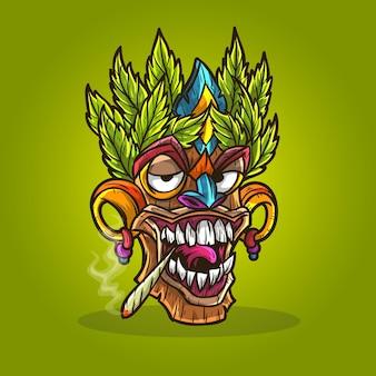 Masque tiki cannabis chanvre fumer de l'herbe.