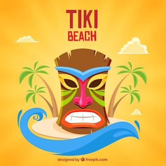 Masque tiki coloré sur l'île