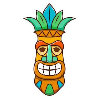 Masque tiki effrayant. bande dessinée ethnique tribale.