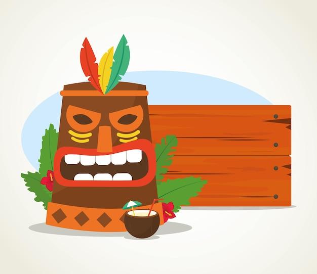 Masque tiki hawaïen et planche de bois